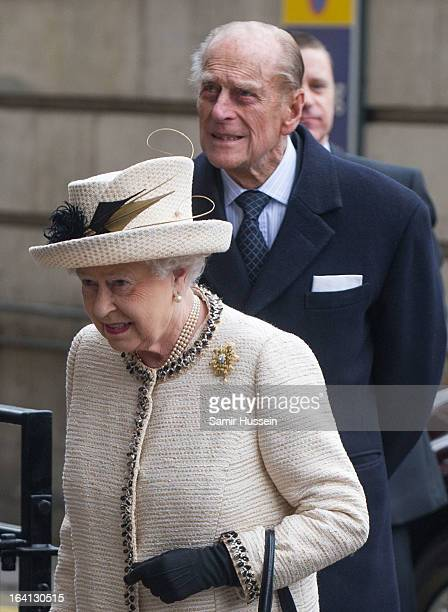 Queen Elizabeth II and Prince Philip Duke of Edinburgh visit Baker Street Underground Station to celebrate the Underground's 150th Birthday on March...