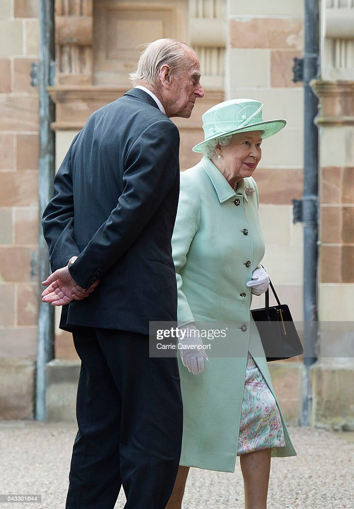 Queen <a gi-track='captionPersonalityLinkClicked' href=/galleries/search?phrase=Elizabeth+II&family=editorial&specificpeople=67226 ng-click='$event.stopPropagation()'>Elizabeth II</a> and <a gi-track='captionPersonalityLinkClicked' href=/galleries/search?phrase=Prince+Philip&family=editorial&specificpeople=92394 ng-click='$event.stopPropagation()'>Prince Philip</a>, Duke of Edinburgh visit Hillsborough Castle on June 27, 2016 in Belfast, Northern Ireland.