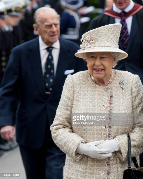 Queen Elizabeth II and Prince Philip Duke of Edinburgh visit Pangbourne College to celebrate it's centenary on May 9 2017 in Pangbourne England