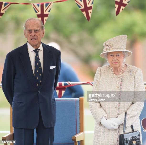 Queen Elizabeth II and Prince Philip Duke of Edinburgh visit Pangbourne College to celebrate it's centenary at Pangbourne College on May 9 2017 in...