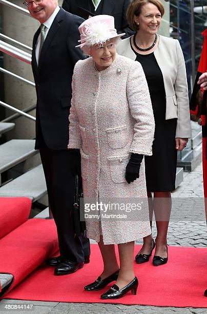 Queen Elizabeth II and Prince Philip Duke of Edinburgh visit Lloyd's of London to commemorate the market's 325th anniversary on March 27 2014 in...