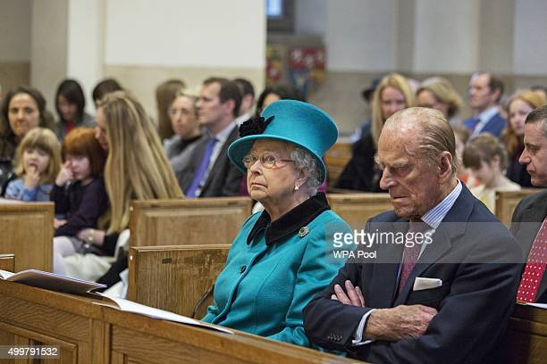 Queen Elizabeth II and Prince Philip Duke of Edinburgh visit St Columba's Church Knightsbridge to attend a Service of Thanks giving and Reception to...