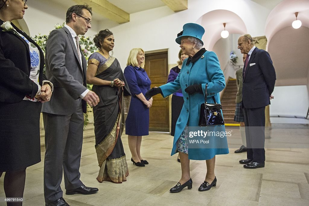 Queen Elizabeth II and Prince Philip, Duke of Edinburgh visit St Columba's Church, Knightsbridge to attend a Service of Thanks giving and Reception to celebrate the Sixtieth anniversary of the re-dedication of the church building on December 3, 2015 in London, England.