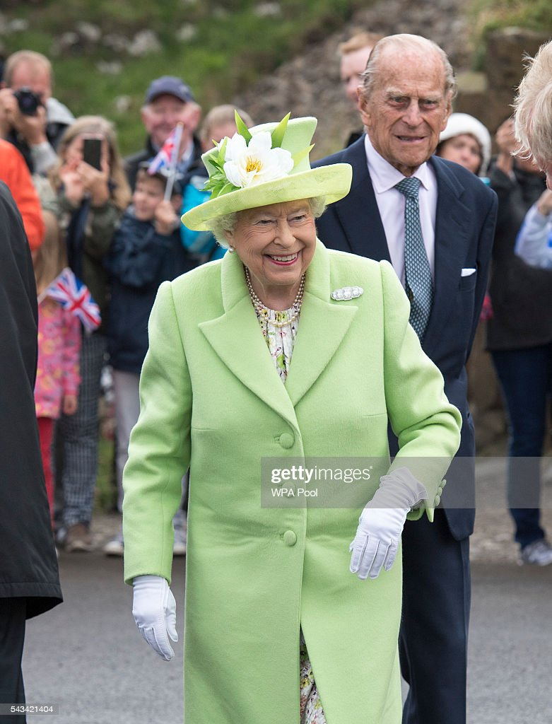 Queen <a gi-track='captionPersonalityLinkClicked' href=/galleries/search?phrase=Elizabeth+II&family=editorial&specificpeople=67226 ng-click='$event.stopPropagation()'>Elizabeth II</a> and <a gi-track='captionPersonalityLinkClicked' href=/galleries/search?phrase=Prince+Philip&family=editorial&specificpeople=92394 ng-click='$event.stopPropagation()'>Prince Philip</a>, Duke Of Edinburgh visit the Giants Causeway on June 28, 2016 in County Antrim, Northern Ireland, United Kingdom.