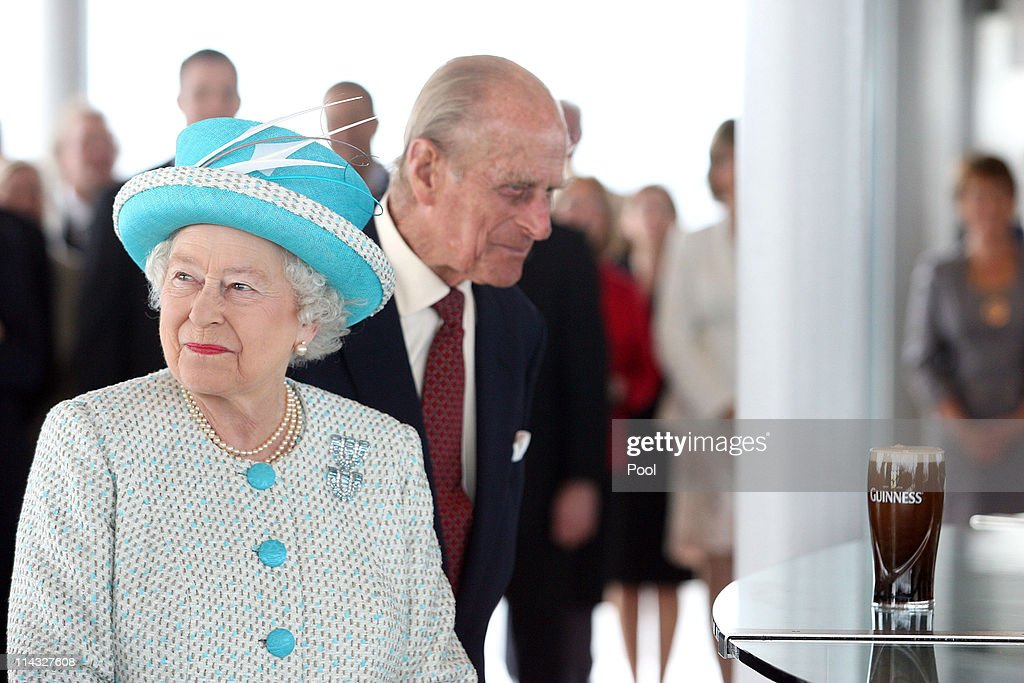 Queen Elizabeth II and Prince Philip, Duke of Edinburgh visit the Guinness Storehouse and watch the pouring of a pint on May 18, 2011 in Dublin, Ireland. The Duke and Queen's visit to Ireland is the first by a monarch since 1911. An unprecedented security operation is taking place with much of the centre of Dublin turning into a car free zone. Republican dissident groups have made it clear they are intent on disrupting proceedings.