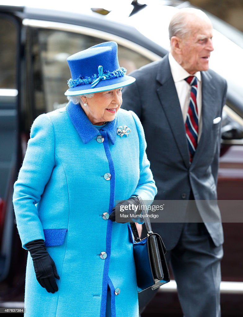 Queen Elizabeth II and Prince Philip, Duke of Edinburgh visit Canterbury Cathedral where The Queen unveiled a statue of herself and one of Prince Philip, Duke of Edinburgh to mark her Diamond Jubilee on March 26, 2015 in Canterbury, England.
