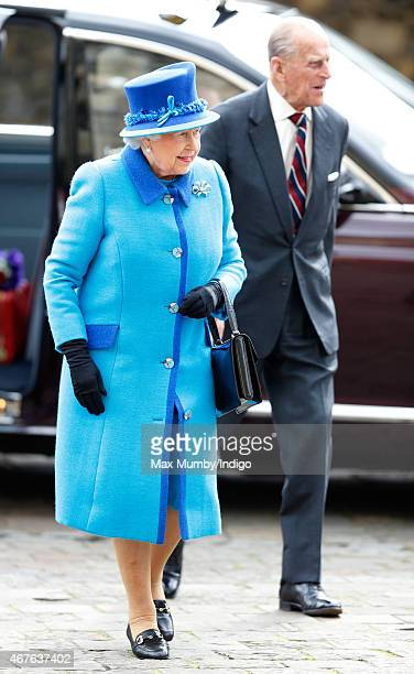 Queen Elizabeth II and Prince Philip Duke of Edinburgh visit Canterbury Cathedral where The Queen unveiled a statue of herself and one of Prince...