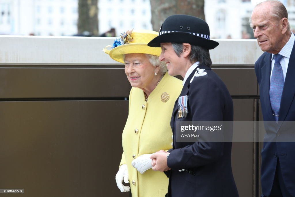 Queen Elizabeth II and Prince Philip, Duke of Edinburgh with Commissioner of the Metropolitan Police Cressida Dick during the opening of the the new headquaters of the Metropolitan Police Service on July 13, 2017 in London, England.
