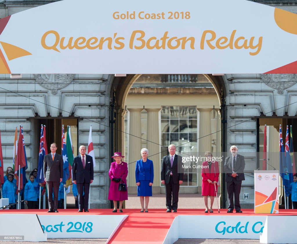 Queen Elizabeth II and Prince Philip, Duke of Edinburgh with Prince Edward, Earl of Wessex during the launch of The Queen's Baton Relay for the XXI Commonwealth Games being held on the Gold Coast in 2018 at Buckingham Palace on March 13, 2017 in London, England.