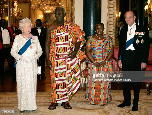 Queen Elizabeth II and Prince Philip Duke of Edinburgh with the President of the Republic of Ghana John Agyekum Kufuor and his wife Mrs Theresa...