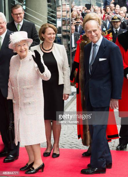 Queen Elizabeth II and Prince Philip Duke of Edinburgh's arrive at Lloyd's of London to commemorate the market's 325th anniversary during a visit to...