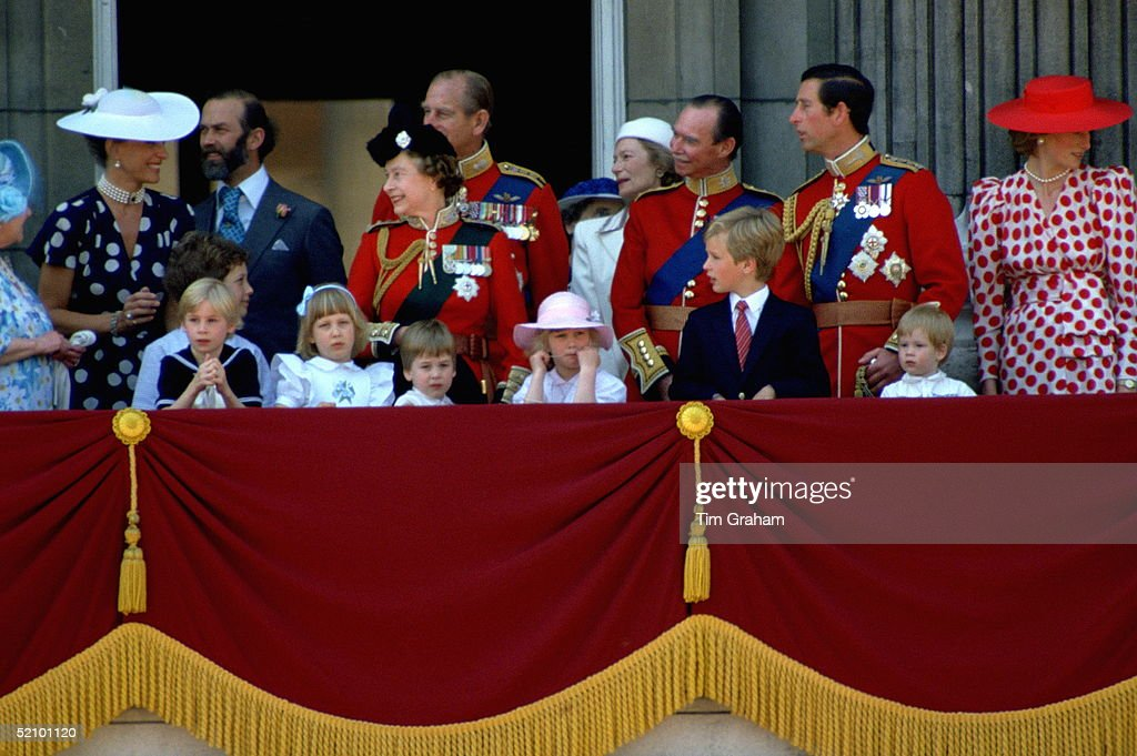 Queen Elizabeth II And Prince Philip Laughing With Prince And Princess Michael Of Kent As Members Of The Royal Family Watch Trooping The Colour From The Balcony Of Buckingham Palace. Front Left To Right: Lady Davina Windsor, Lady Gabriella Windsor, Prince William, Zara Phillips, Peter Phillips, Prince Harry. Behind Left To Right: Princess Michael, Prince Michael, Queen, Grand Duke Of Luxembourg, Prince Charles, Princess Diana