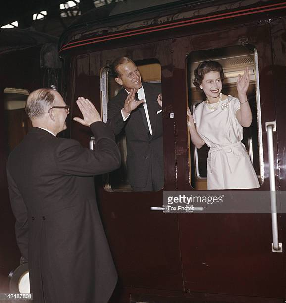 Queen Elizabeth II and Prince Philip leave Manchester by train 24th May 1961