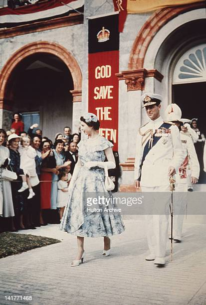 Queen Elizabeth II and Prince Philip leaves the House of Assembly in Hamilton during a Commonwealth Visit to Bermuda November 1953