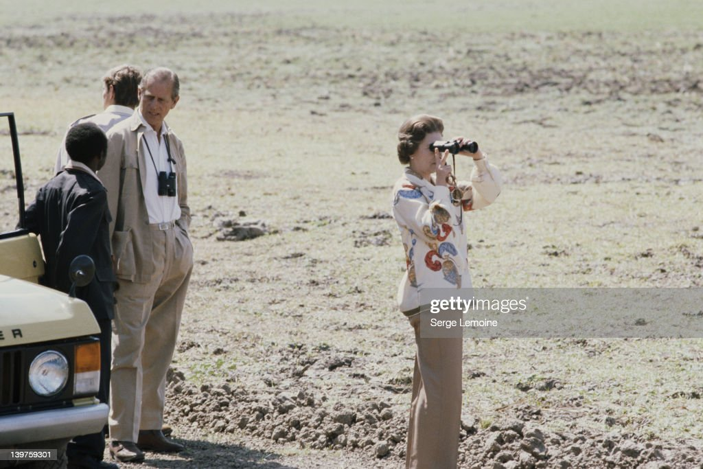Queen Elizabeth II and Prince Philip on safari during their state visit to Zambia, 1979.