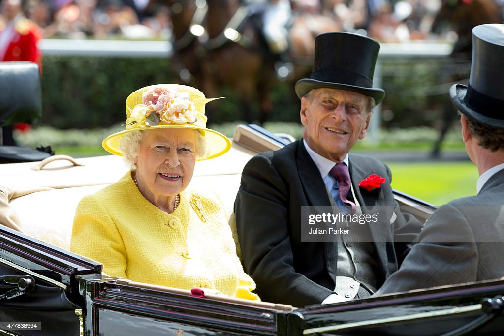 ASCOT, ENGLAND- JUNE 19 Queen Elizabeth II, and Prince Philip, the Duke of Edinburgh attend the fourth day of The Royal Ascot race meeting, on June 19th, 2015 in Ascot, England.
