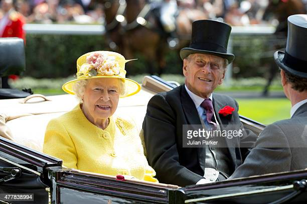 ASCOT ENGLAND JUNE 19 Queen Elizabeth II and Prince Philip the Duke of Edinburgh attend the fourth day of The Royal Ascot race meeting on June 19th...