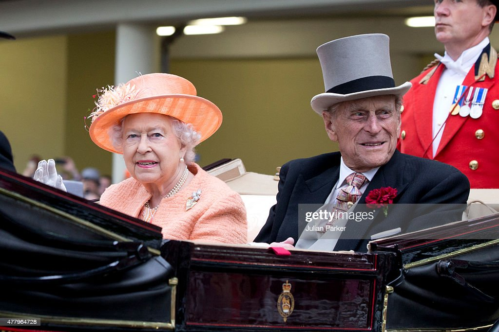 ASCOT, ENGLAND- JUNE 20 Queen Elizabeth II and Prince Philip, the Duke of Edinburgh attend the last day of The Royal Ascot race meeting, on June 20th, 2015 in Ascot, England.