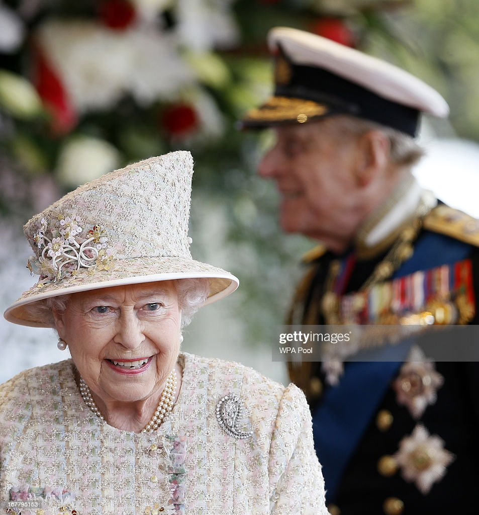 Queen Elizabeth II and Prince Philip, the Duke of Edinburgh await the arrival of President of the United Arab Emirates, His Highness Sheikh Khalifa bin Zayed Al Nahyan for a ceremonial welcome on April 30, 2013 in Windsor, England. President Sheikh Khalifa begins a State visit to the UK today, the first for a UEA President in 24 years. Sheikh Khalifa will meet the British Prime Minister David Cameron tomorrow at his Downing Street residence.