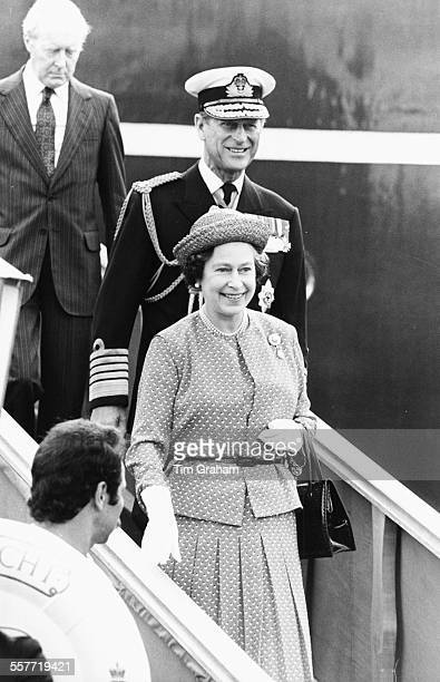 HM Queen Elizabeth II and Prince Philip the Duke of Edinburgh smiling as they arrive in Algeria to meet victims of the El Asnam Earthquake October...
