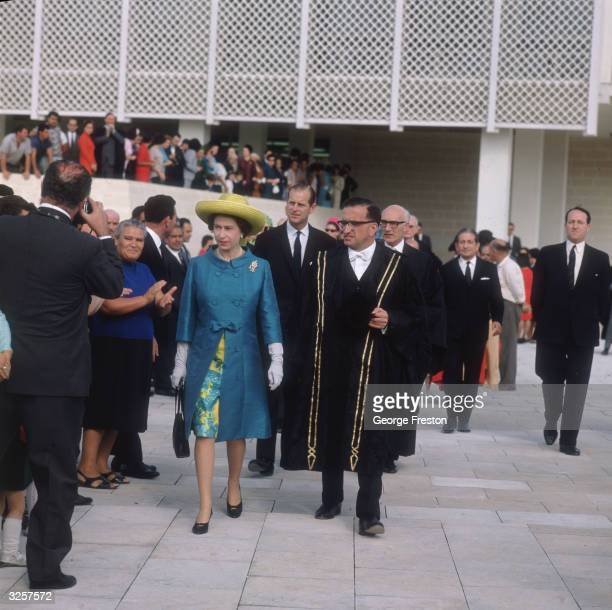 Queen Elizabeth II and Prince Philip view the new site of the Royal University of Malta during an official visit to the island 17th November 1967