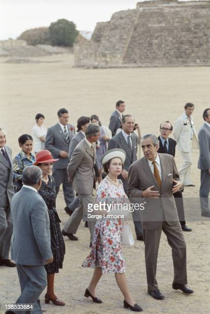 Queen Elizabeth II and Prince Philip visit an ancient ruin during their state visit to Mexico 1975