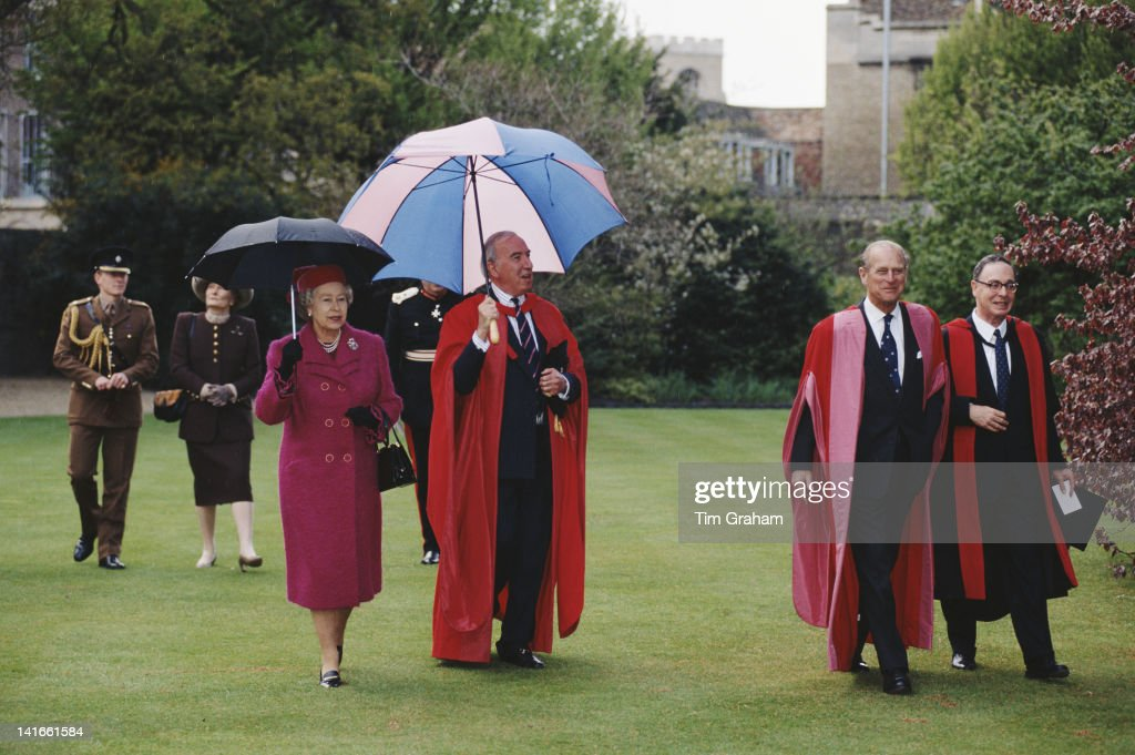 Queen <a gi-track='captionPersonalityLinkClicked' href=/galleries/search?phrase=Elizabeth+II&family=editorial&specificpeople=67226 ng-click='$event.stopPropagation()'>Elizabeth II</a> and <a gi-track='captionPersonalityLinkClicked' href=/galleries/search?phrase=Prince+Philip&family=editorial&specificpeople=92394 ng-click='$event.stopPropagation()'>Prince Philip</a> visit Emmanuel College, Cambridge, 19th April 1995. They are accompanied by Sir Norman St John-Stevas, Master of the College.