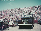 Queen Elizabeth II and Prince Philip wave to the crowd whilst on their Commonwealth visit to Australia 1954