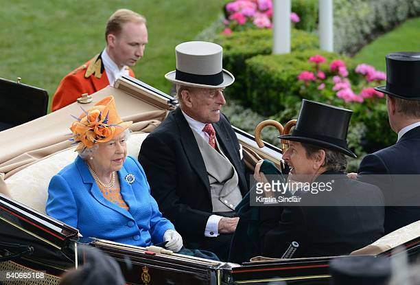 Queen Elizabeth II and Prince Phillip Duke of Edinburgh arrive in the Royal Procession on day 3 of Royal Ascot at Ascot Racecourse on June 16 2016 in...