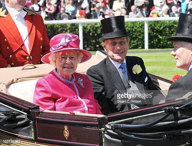 Queen Elizabeth II and Prince Phillip Duke of Edinburgh attend Day Two of Royal Ascot on June 16 2010 in Ascot England