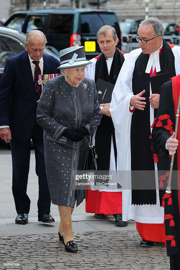 Queen <a gi-track='captionPersonalityLinkClicked' href=/galleries/search?phrase=Elizabeth+II&family=editorial&specificpeople=67226 ng-click='$event.stopPropagation()'>Elizabeth II</a> and Prince Phillip, Duke of Edinburgh attend Service on the eve of the centenary of the Battle of The Somme at Westminster Abbey on June 30, 2016 in London, England.