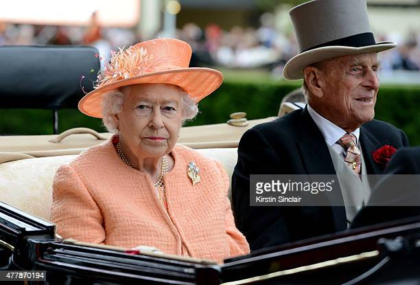 Queen Elizabeth II and Prince Phillip Duke of Edinburgh during the Royal Procession on day 5 of Royal Ascot 2015 at Ascot racecourse on June 20 2015...
