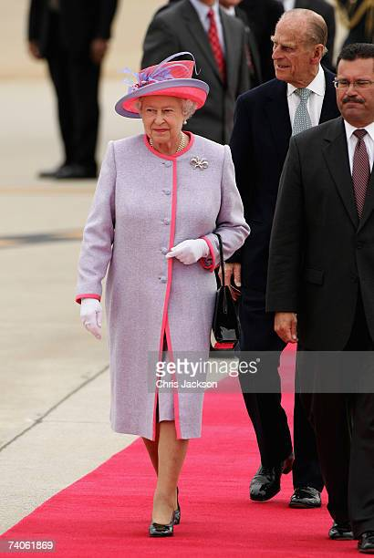 Queen Elizabeth II and Prince Phillip the Duke of Edinburgh arrive at Richmond International Airport on May 3 2007 in Richmond Virginia Today the The...