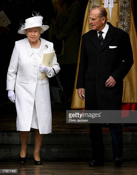 Queen Elizabeth II and Prince Phillip The Duke of Edinburgh leave Westminster Abbey after a service celebrating their 60th Diamond Wedding...