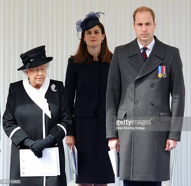 Queen Elizabeth II and Prince William Duke of Cambridge attend a wreathlaying ceremony at the Cenotaph to commemorate ANZAC Day and the Centenary of...