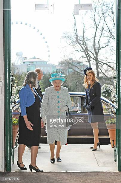 Queen Elizabeth II and Princess Beatrice are greeted by Janet Barnes CEO of York Museums Trust as they visit the Yorkshire Museum after the Royal...