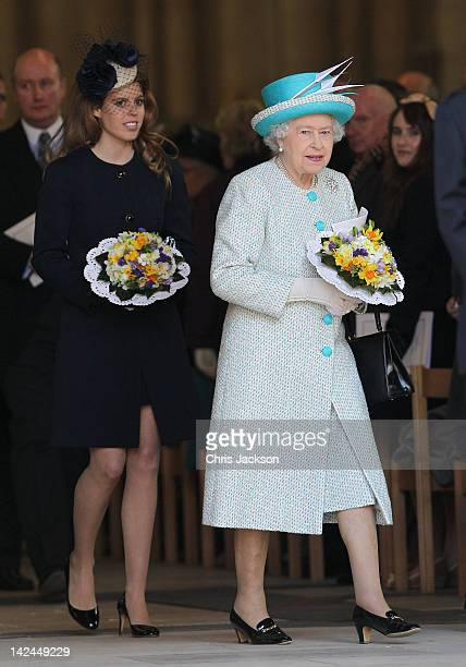 Queen Elizabeth II and Princess Beatrice leave York Minster after a Maundy Thursday Service at on April 5 2012 in York England Queen Elizabeth II...