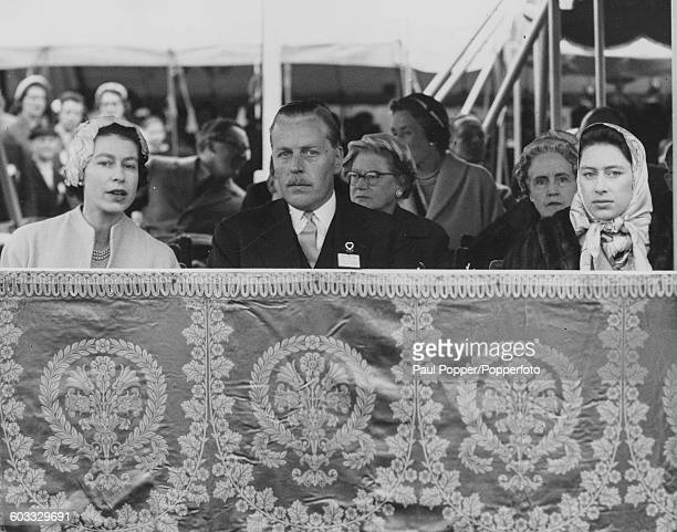 Queen Elizabeth II and Princess Margaret watch events at the Royal Windsor Horse Show from the Royal box in Windsor Great Park England on May 17th...