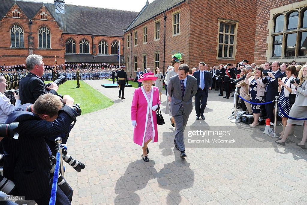 Queen Elizabeth II and Principal Richard Backhouse during Berkhamsted School's 475th Anniversarty celebrations on May 6, 2016 in Berkhamsted, England.