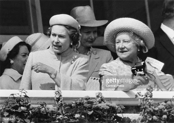 Queen Elizabeth II and Queen Elizabeth The Queen Mother at Epsom Derby