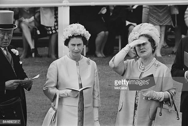 Queen Elizabeth II and Queen Elizabeth The Queen Mother at Epsom Downs Racecourse 9th June 1967