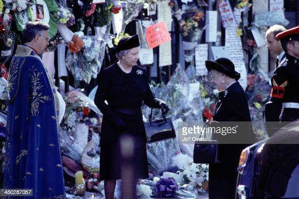 Queen Elizabeth II and Queen Mother at Funeral of Diana Princess of Wales Arriving at Westminster Abbey for the Funeral Service