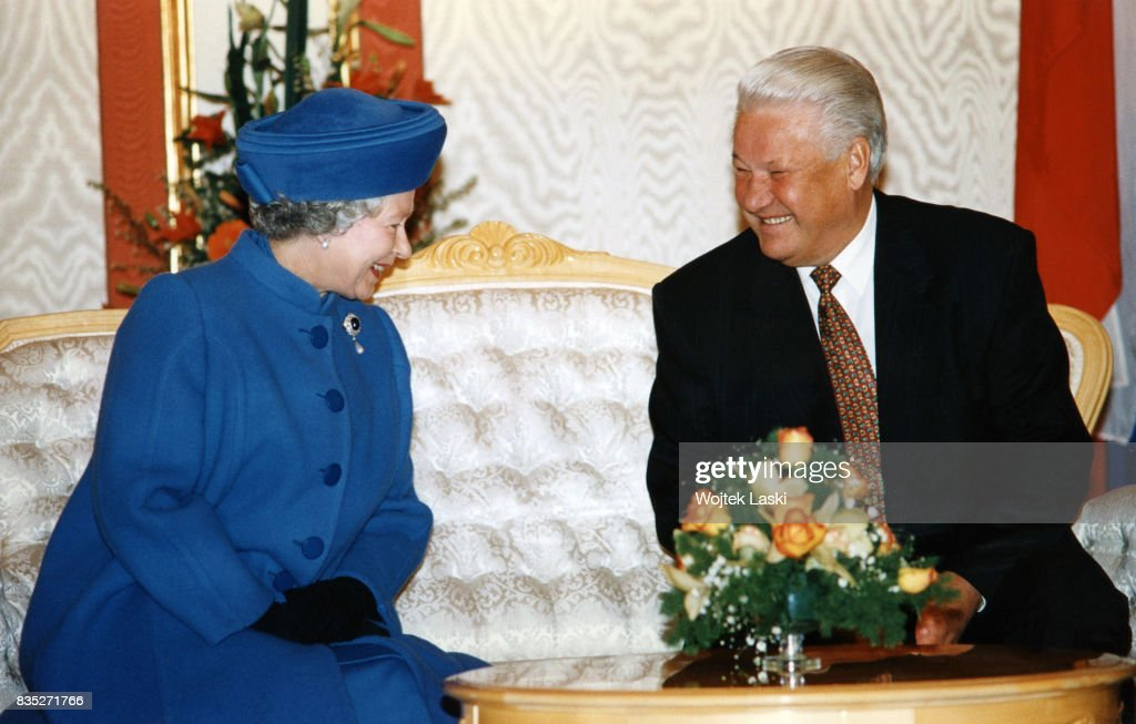 Queen Elizabeth II and Russian President Boris Yeltsin at the Kremlin in Moscow, Russia, on October 17, 1994.