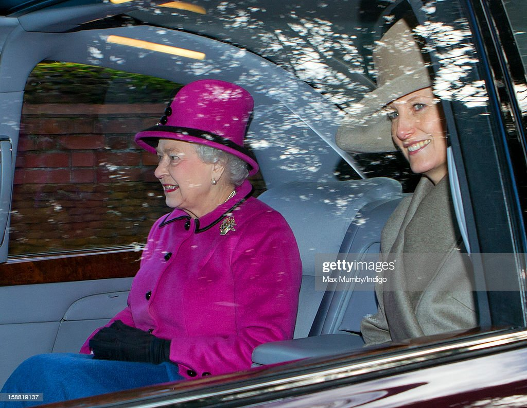 Queen <a gi-track='captionPersonalityLinkClicked' href=/galleries/search?phrase=Elizabeth+II&family=editorial&specificpeople=67226 ng-click='$event.stopPropagation()'>Elizabeth II</a> and Sophie,Countess of Wessex leave St. Mary Magdalene Church, Sandringham in Queen Elizabeth's Bentley car after attending Sunday service on December 30, 2012 near King's Lynn, England.