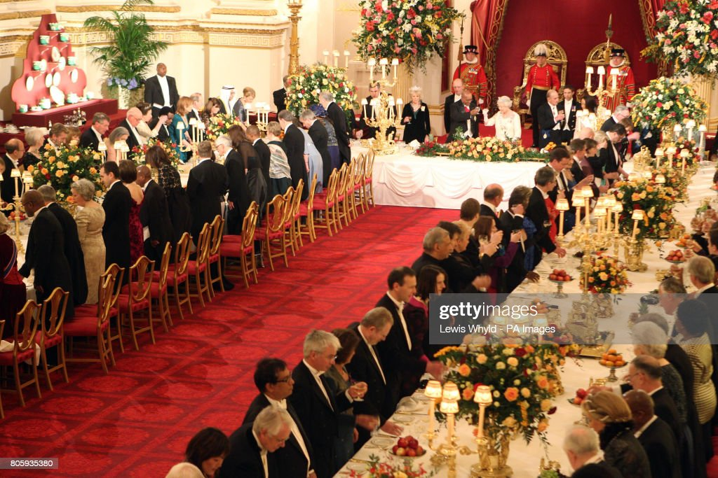 Queen Elizabeth II and South African President Jacob Zuma enjoy a toast at the start of the State Banquet at Buckingham Palace during the State Visit of South African President Jacob Zuma.