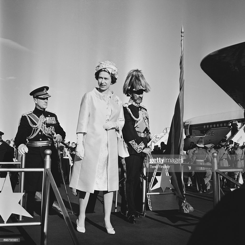 Queen Elizabeth II and the Duke of Edinburgh are greeted by Haile Selassie (1892 - 1975, right) upon their arrival in Addis Ababa, Ethiopia, February 1965.