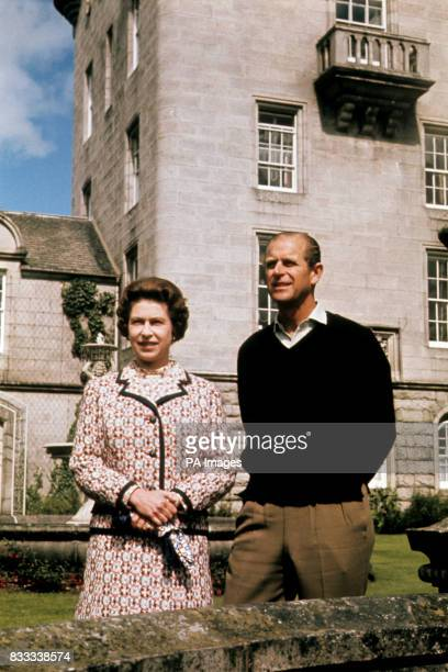 Queen Elizabeth II and the Duke of Edinburgh at Balmoral to celebrate their Silver Wedding anniversary