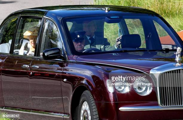 Queen Elizabeth II and the Duke of Edinburgh at Crathie Kirk for Sunday service near Balmoral where they are currently spending their summer holidays
