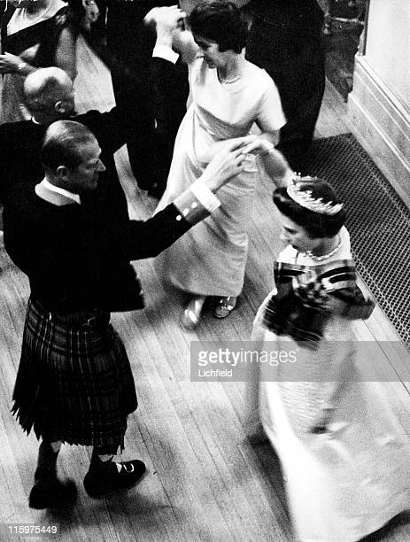 Queen Elizabeth II and the Duke of Edinburgh dancing at the Ghillies Ball on her Balmoral estate in Scotland 1972 Prince Philip wears the Balmoral...