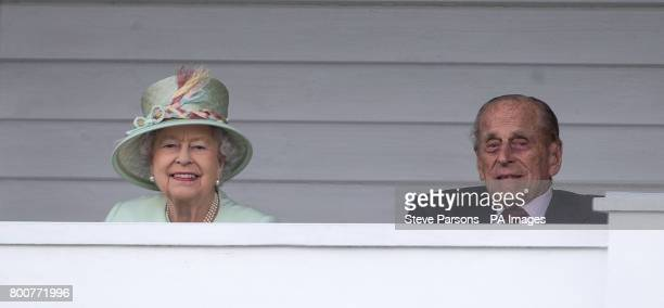 Queen Elizabeth II and the Duke of Edinburgh during the Bentley Motors Royal Windsor Cup Final at Guards Polo Club Windsor Great Park Egham Berkshire
